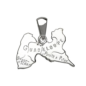PENDENTIF CARTE GUADELOUPE ARGENT RHODIE