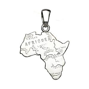 PENDENTIF CARTE AFRIQUE ARGENT RHODIE