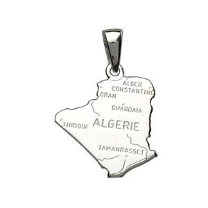 PENDENTIF CARTE ALGERIE ARGENT RHODIE