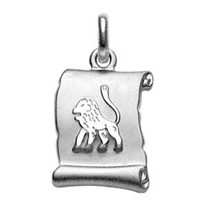 PENDENTIF ZODIAQUE PARCHEMIN LION   ARGENT RHODIE BRILLANT FOND SABLE