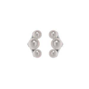BOUCLES D'OREILLES TIGE ARGENT RHODIE 3 PERLES BLANCHES SYNTH