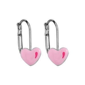 BOUCLES D'OREILLES ARGENT RHODIE SYSTYEME COEUR ROSE