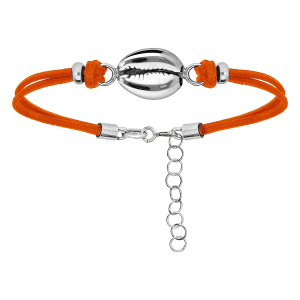 BRACELET ARGENT RHODIE CORDON ORANGE COQUILLAGE 16+2,5CM