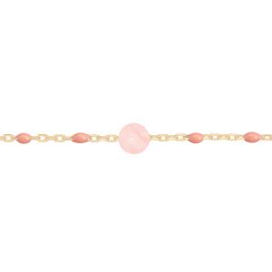 BRACELET ARGENT ET DORURE JAUNE OLIVES RESINE ROSE ET QUARTZ ROSE VÉRITABLE 16+3CM
