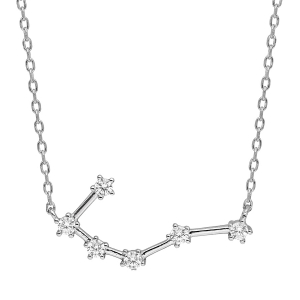 COLLIER ARGENT RHODIE ZODIAQUE CONSTELLATION CANCER OXYDES BLANCS SERTIS 42,5+2,5CM