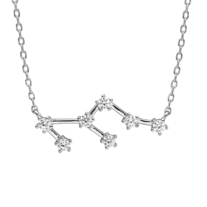 COLLIER ARGENT RHODIE ZODIAQUE CONSTELLATION LION OXYDES BLANCS SERTIS 42,5+2,5CM