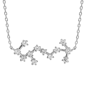 COLLIER ARGENT RHODIE ZODIAQUE CONSTELLATION SCORPION OXYDES BLANCS SERTIS 42,5+2,5CM
