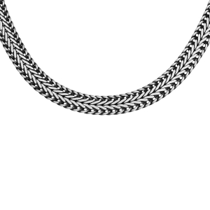 COLLIER  ARGENT PATINÉ MAILLE QUEUE DE RENARD 50CM