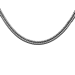 COLLIER ARGENT PATINÉ MAILLE CARRÉ QUEUE DE RENARD 50CM