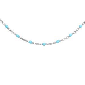 COLLIER ARGENT RHODIE OLIVES RESINE TURQUOISE IMITATION 40+5CM