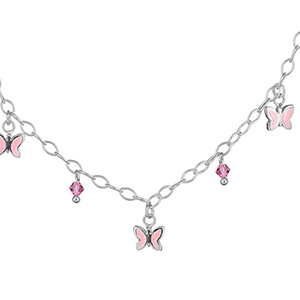 COLLIER CHAINETTE ARGENT RHODIE  PAMPILLES PAPILLONS ROSES + PERLES ROSES REGLABLE 32+4CM