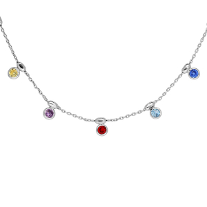 COLLIER ARGENT RHODIE 5 PIERRES MULTI COULEURS SERTIES SYNTHETIQUE ET OLIVES 42+3CM