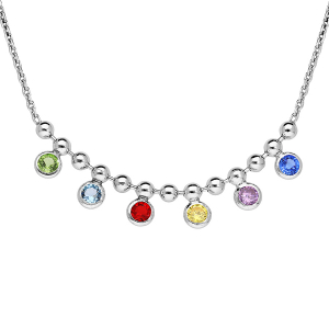 COLLIER ARGENT RHODIE 6 PIERRES MULTI COULEURS SERTIES SYNTHETIQUE ET BOULES 42+3CM