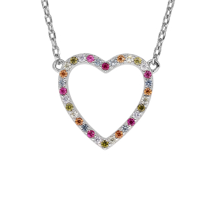 COLLIER ARGENT RHODIE COEUR EVIDÉ CONTOUR PIERRES SYNTHETIQUE MULTI COULEURS 42+3CM