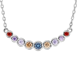 COLLIER ARGENT RHODIE PIERRES SYNTHETIQUE MULTI COULEURS SERTI 42+3CM