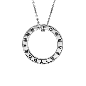 COLLIER ARGENT RHODIE TOGETHER FOR EVER  40+5CM