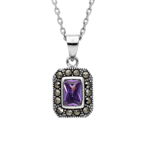 COLLIER ARGENT RHODIE RETRO PIERRE SYNTHETIQUE RECTANGULAIRE VIOLETTE ET CONTOUR MARCASSITE 45CM