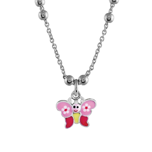 COLLIER ARGENT RHODIE PAPILLON ROSE 40CM REGLABLE 37