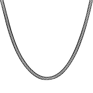 COLLIER ARGENT MAILLE PLATE NOIR MOTIF TRESSE BLANCHE 42CM