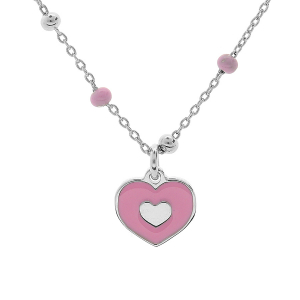 COLLIER ARGENT RHODIE PAMPILLE COEUR RESINE ROSE 38+3CM