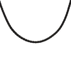 COLLIER ARGENT RHODIE CORDON CUIR TRESSE NOIR 55+5CM