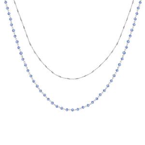 COLLIER ARGENT RHODIE DOUBLE CHAINE PERLES SYNTHETIQUE BLEUES 42+3CM