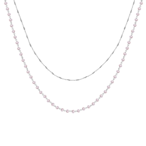 COLLIER ARGENT RHODIE DOUBLE CHAINE PERLES SYNTHETIQUE ROSE CLAIR 42+3CM