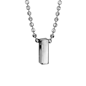 COLLIER ARGENT RHODIE BOULES INITIALE I 42+3CM