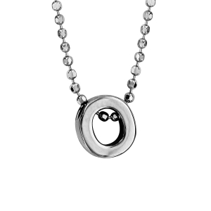 COLLIER ARGENT RHODIE BOULES INITIALE O 42+3CM