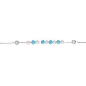 CHAINE CHEVILLE ARGENT PLATINÉ BOULES PERLES IMITATION BLANCHES ET FACETEES BLEUES 22+3CM