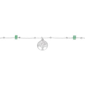 CHAINE CHEVILLE ARGENT PLATINÉ ARBRE DE VIE  RONDELLES JADE VERT VÉRITABLE 22+3CM