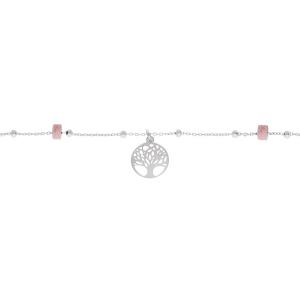 CHAINE CHEVILLE ARGENT PLATINÉ ARBRE DE VIE  RONDELLES RODONITE VÉRITABLE 22+3CM