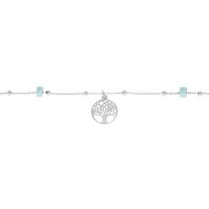 CHAINE CHEVILLE ARGENT PLATINÉ ARBRE DE VIE  RONDELLES TURQUOISE VÉRITABLE 22+3CM