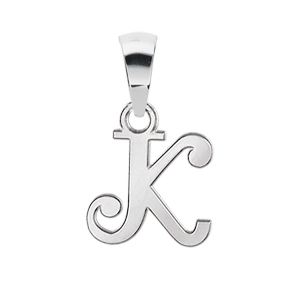 PENDENTIF INITIALE ANGLAISE PETIT MODELE  K  ARGENT RHODIE