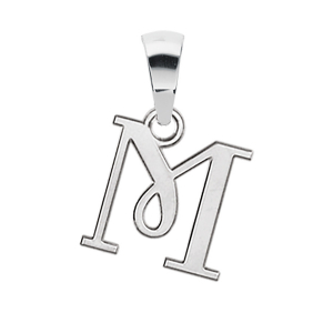 PENDENTIF INITIALE ANGLAISE PETIT MODELE  M  ARGENT RHODIE