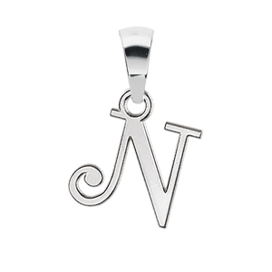 PENDENTIF INITIALE ANGLAISE PETIT MODELE   N   ARGENT RHODIE