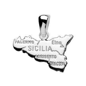 PENDENTIF CARTE DE LA SICILE  ARGENT RHODIE