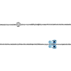 CHAINE CHEVILLE ARGENT RHODIE PAPILLON BLEU ET 1 OXYDE RONDS BLANCS SERTIS CLOS 23+3CM