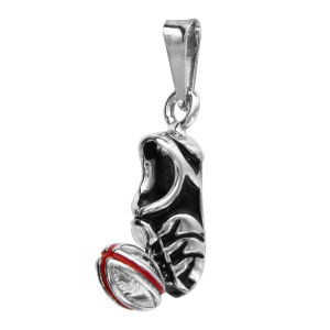 PENDENTIF CHAUSSURE + BALLON RUGBY COULEURS ARGENT RHODIE