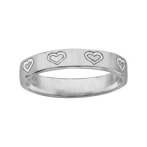 ALLIANCE ARGENT RUBAN 4MM GRAVEE COEUR