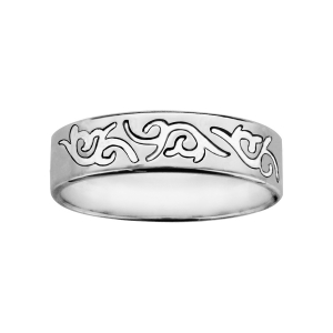 ALLIANCE ARGENT  RUBAN 6MM GRAVEE MOTIF TRIBAL