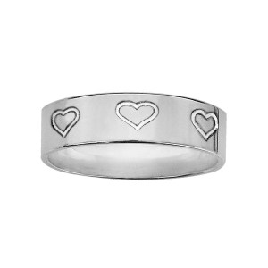 ALLIANCE ARGENT RUBAN 6MM GRAVEE COEUR