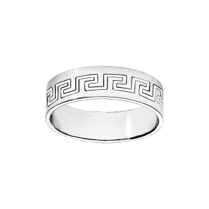 ALLIANCE ARGENT  RUBAN 6MM GRAVEE MOTIF GREC