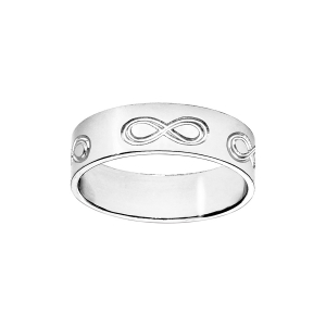 ALLIANCE RUBAN 6MM GRAVEE SYMBOLE INFINI ARGENT 66 (56.58.60.62.64.66 )