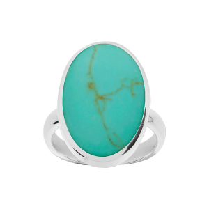 BAGUE ARGENT OVALE TURQUOISE RECONSTITUEE