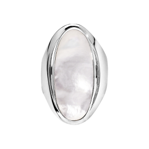 BAGUE GROS OVALE NACRE BLANCHE ARGENT RHODIE