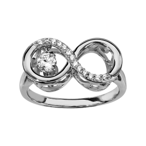 BAGUE ARGENT RHODIE DANCING STONE INFINI OXYDES BLANCS