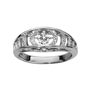 BAGUE ARGENT RHODIE DANCING STONE OXYDES BLANCS SERTIS