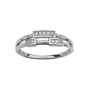 BAGUE ARGENT RHODIE 3 PAVES OXYDES BLANCS SERTIS