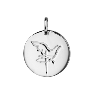 PENDENTIF ARGENT RHODIE MEDAILLE RONDE COLOMBE AVEC CROIX